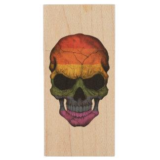 Customizable Skull with Gay Pride Rainbow Flag Wood USB 2.0 Flash Drive