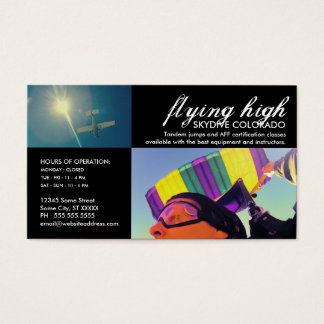 customizable skydiving business card
