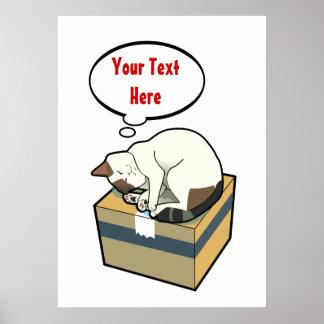Customizable Sleeping Cat Five Poster