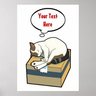 Customizable Sleeping Cat Six Poster