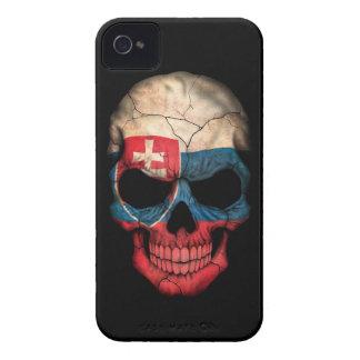 Customizable Slovakian Flag Skull iPhone 4 Case-Mate Cases