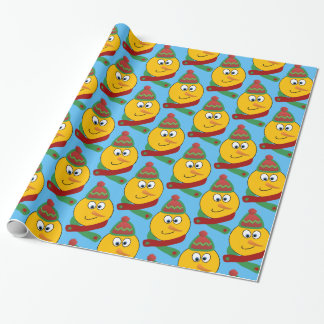 Customizable Smiling Snowman Emoji Wrapping Paper