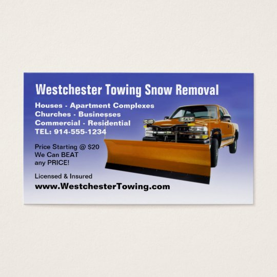 CUSTOMIZABLE Snow Ploughing Business Cards