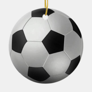 Customizable Soccer Ball Chirstmas Round Ceramic Decoration