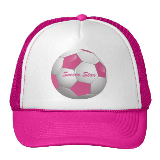 Customizable Soccer Ball Pink and White Trucker Hat