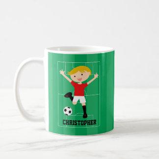 Customizable Soccer Boy 1 Red and White Basic White Mug