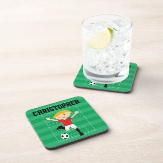 Customizable Soccer Boy 1 Red and White Coaster