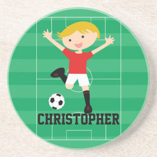 Customizable Soccer Boy 1 Red and White Coasters