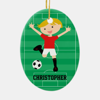 Customizable Soccer Boy 1 Red and White Christmas Ornaments