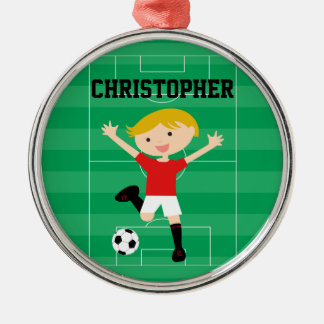 Customizable Soccer Boy 1 Red and White Round Metal Christmas Ornament