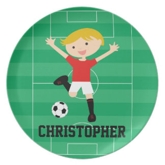 Customizable Soccer Boy 1 Red and White Dinner Plates