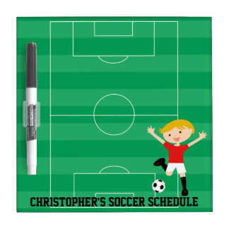 Customizable Soccer Boy 1 Red and White Dry-Erase Boards