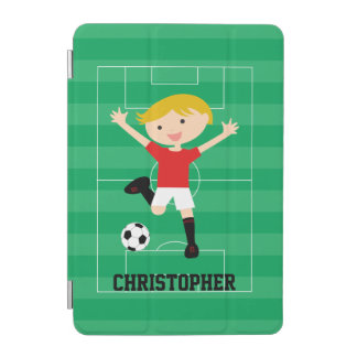 Customizable Soccer Boy 1 Red and White iPad Mini Cover
