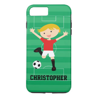 Customizable Soccer Boy 1 Red and White iPhone 7 Plus Case