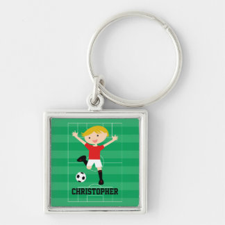 Customizable Soccer Boy 1 Red and White Silver-Colored Square Key Ring