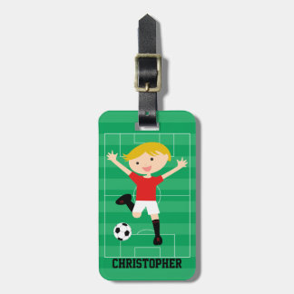 Customizable Soccer Boy 1 Red and White Luggage Tag