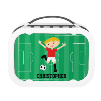 Customizable Soccer Boy 1 Red and White Lunch Box