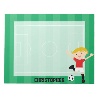 Customizable Soccer Boy 1 Red and White Notepad