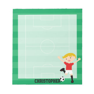 Customizable Soccer Boy 1 Red and White Notepads