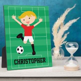 Customizable Soccer Boy 1 Red and White Photo Plaques