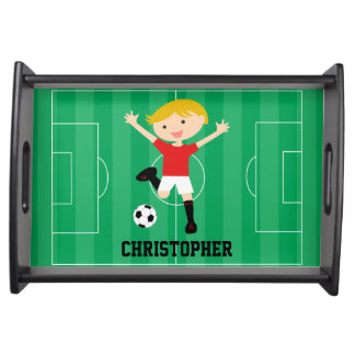 Customizable Soccer Boy 1 Red and White Serving Tray