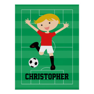 Customizable Soccer Boy 1 Red and White Poster