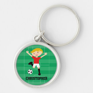 Customizable Soccer Boy 1 Red and White Silver-Colored Round Key Ring