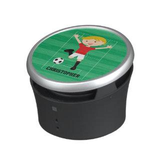 Customizable Soccer Boy 1 Red and White Speaker