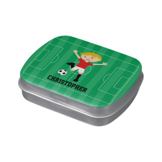 Customizable Soccer Boy 1 Red and White Candy Tin