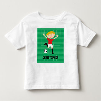 Customizable Soccer Boy 1 Red and White T-shirts