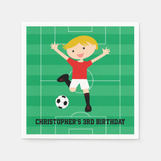 Customizable Soccer Boy 1 Red and White Disposable Napkin