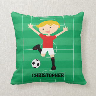 Customizable Soccer Boy 1 Red and White Throw Cushion