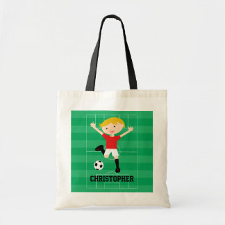 Customizable Soccer Boy 1 Red and White Tote Bag