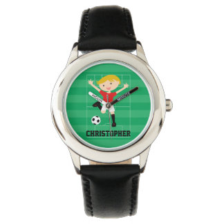 Customizable Soccer Boy 1 Red and White Wristwatch