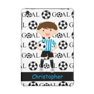 Customizable Soccer Boy 2 Blue White Stripes Goal