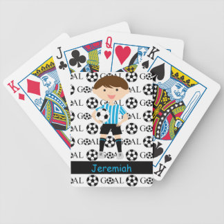 Customizable Soccer Boy Goal 1 Card Decks