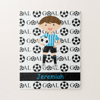 Customizable Soccer Boy Goal 1 Jigsaw Puzzle