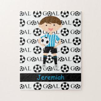 Customizable Soccer Boy Goal 1 Jigsaw Puzzle