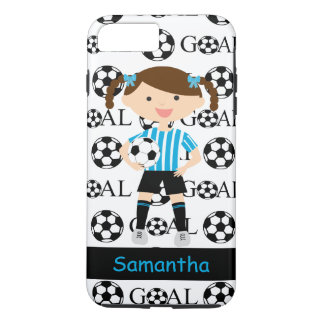 Customizable Soccer Girl 1 Goal Blue and White iPhone 7 Plus Case