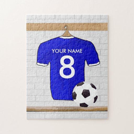 Customizable Soccer Jersey (blue) Keychain Jigsaw Puzzle