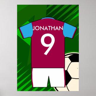 Customizable Soccer Jersey Claret blue Print