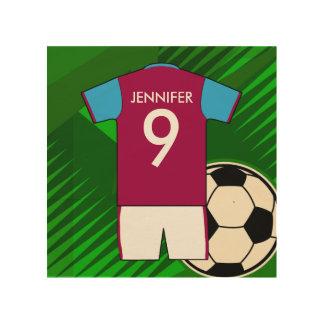 Customizable Soccer Jersey Claret blue Wood Print