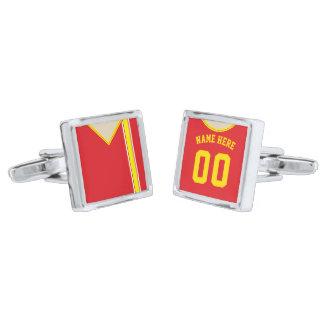 Customizable Soccer Jersey Cuff Links, Blue Silver Finish Cufflinks