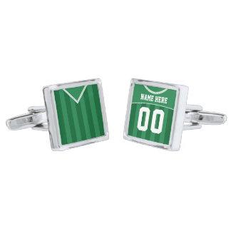 Customizable Soccer Jersey Cuff Links, Green Silver Finish Cuff Links
