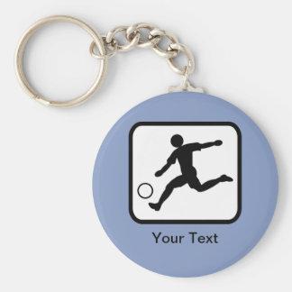 Customizable Soccer Player (Footballer) Logo Basic Round Button Key Ring