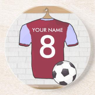Customizable Soccer Shirt claret andblue Coaster