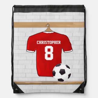 Customizable Soccer Shirt (red) Drawstring Backpacks