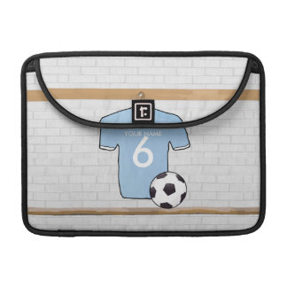Customizable Soccer Shirt  Sky Blue and White Sleeve For MacBooks