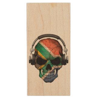 Customizable South African Dj Skull and Headphones Wood USB 2.0 Flash Drive