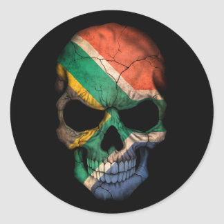 Customizable South African Flag Skull Classic Round Sticker